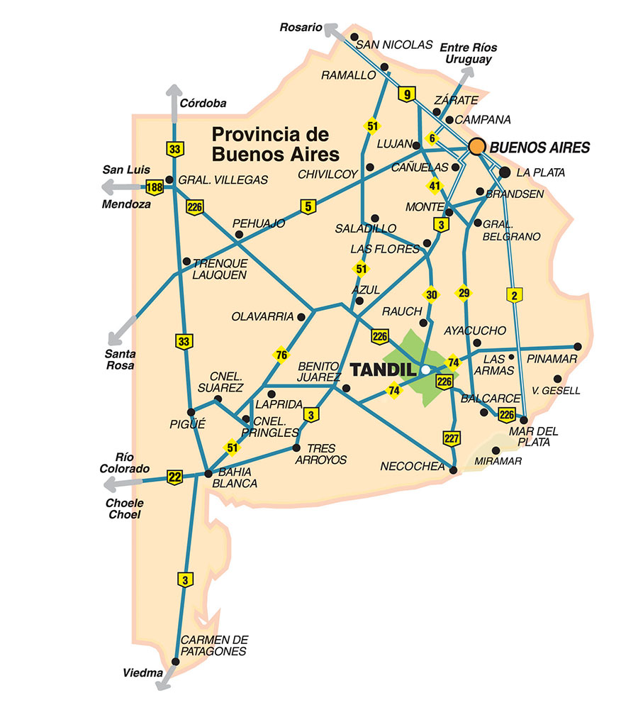 plano rutas de Tandil